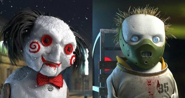 Artista ucraniano transforma ícones do horror em bonequinhos de neve